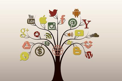 Como influyen las redes sociales en la sociedad: Árbol del saber, en cada rama hay un logo de red social