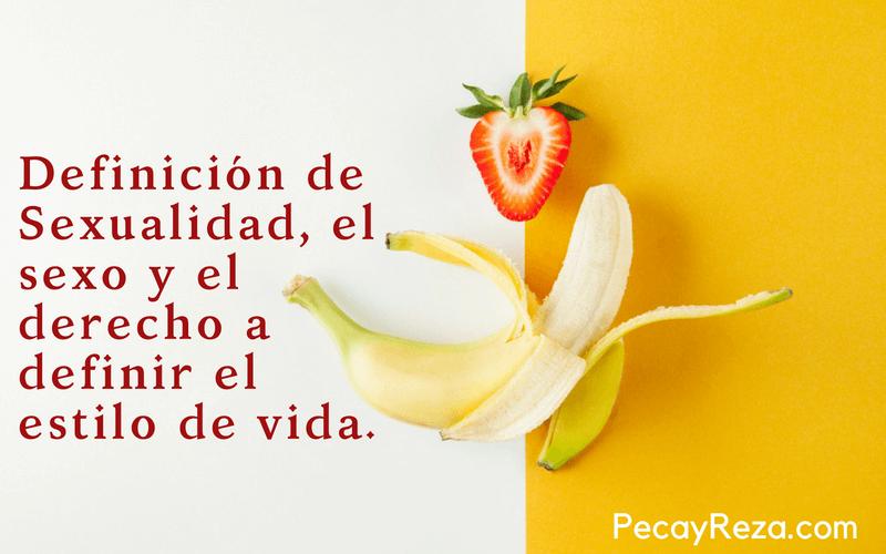 Definicion de Sexualidad: Imagen con un plátano y una fresa como representación de lo que es sexo y sexualidad